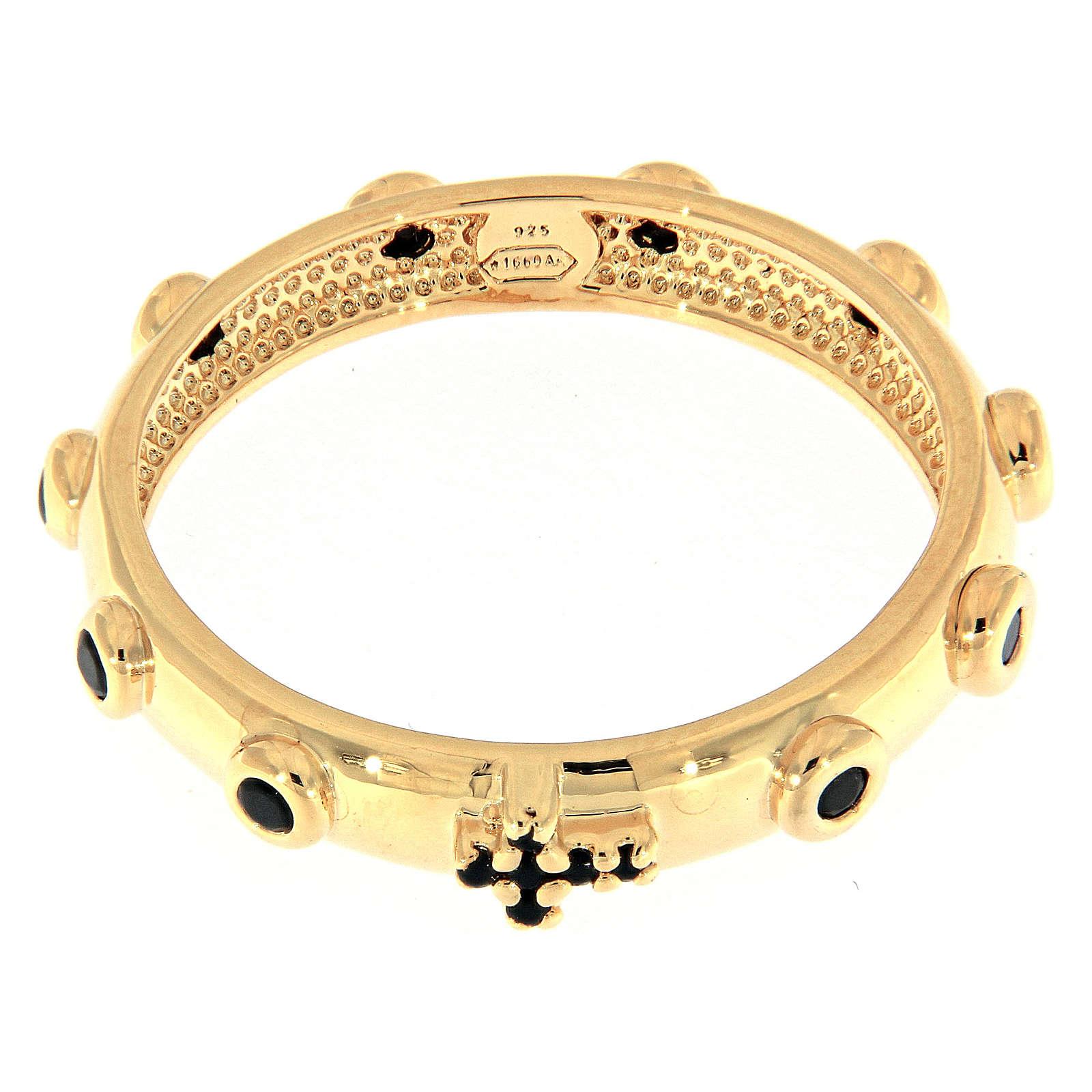 Rosary Ring AMEN gilded silver 925, black zircons 3