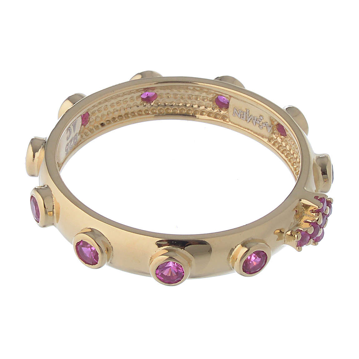 Rosary Ring AMEN gilded silver 925, red zircons 3