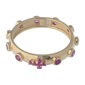 Rosary Ring AMEN gilded silver 925, red zircons s2
