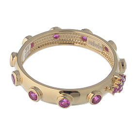 Rosary Ring AMEN gilded silver 925, red zircons s3