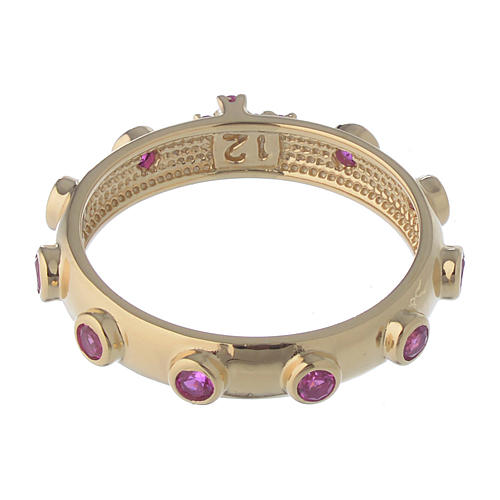 Rosary Ring AMEN gilded silver 925, red zircons 4