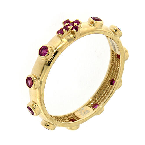 Rosary Ring AMEN gilded silver 925, red zircons 1