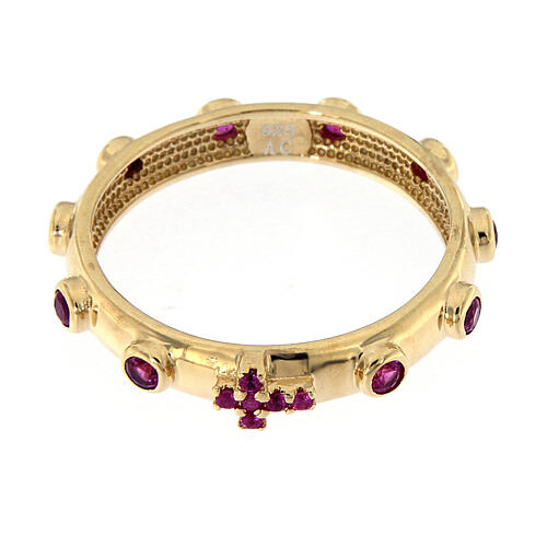 Rosary Ring AMEN gilded silver 925, red zircons 2