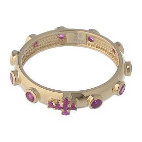 Anello rosario AMEN argento 925 zirconi rosa Oro s2