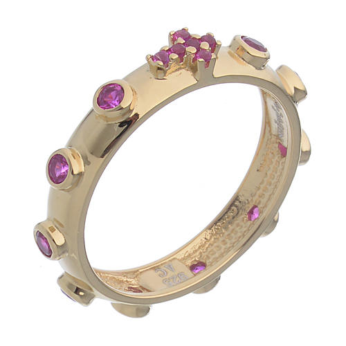 Anello rosario AMEN argento 925 zirconi rosa Oro 1