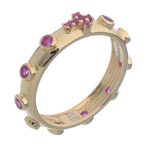 Obrączka dziesiątka różańca AMEN srebro 925 cyrkonie czerwone, Złoto 1