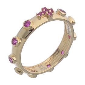 Rosary Ring AMEN gilded silver 925, red zircons s1