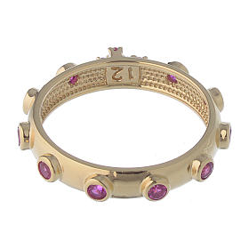 Rosary Ring AMEN gilded silver 925, red zircons s4