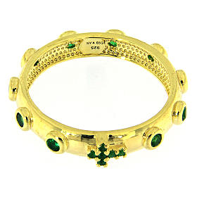 Anillo rosario AMEN dorado de plata 925 circones verdes s2