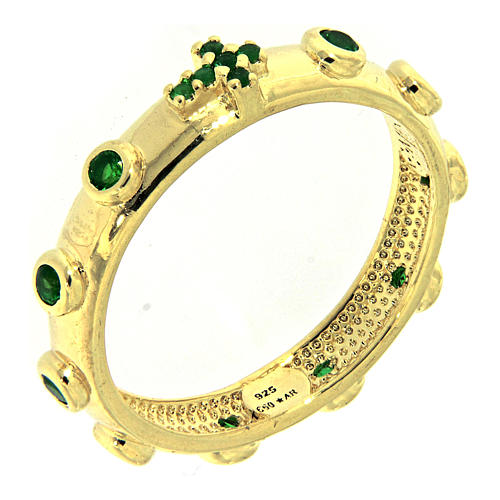 Anillo rosario AMEN dorado de plata 925 circones verdes 1
