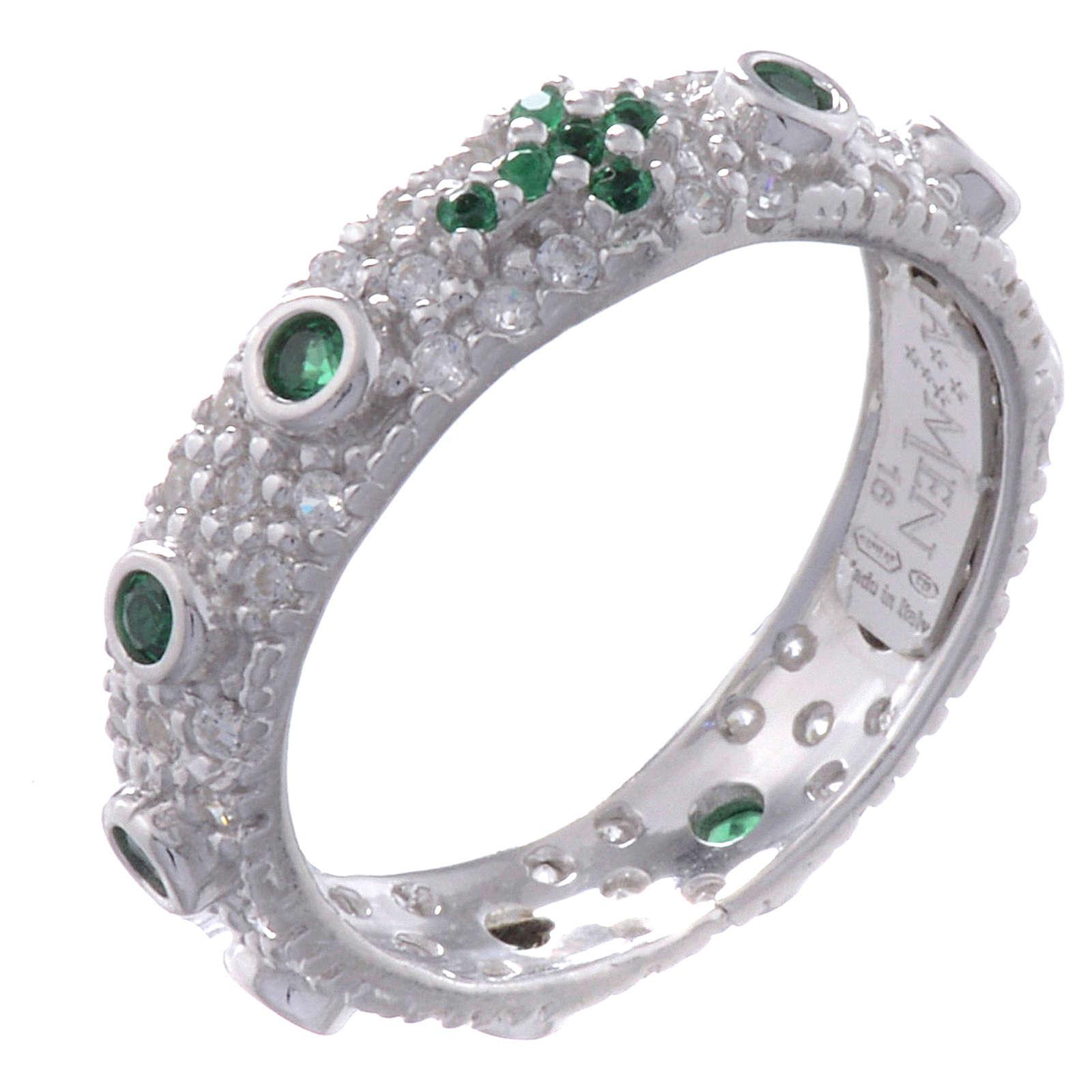 Anello decina AMEN arg 925 rodiato zirc verdi Rodio 3