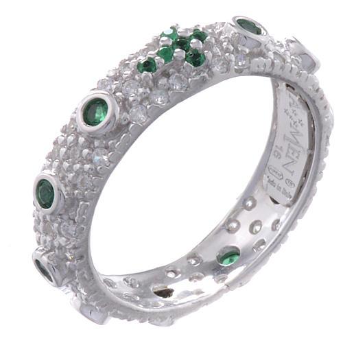 Anello decina AMEN arg 925 rodiato zirc verdi Rodio 1