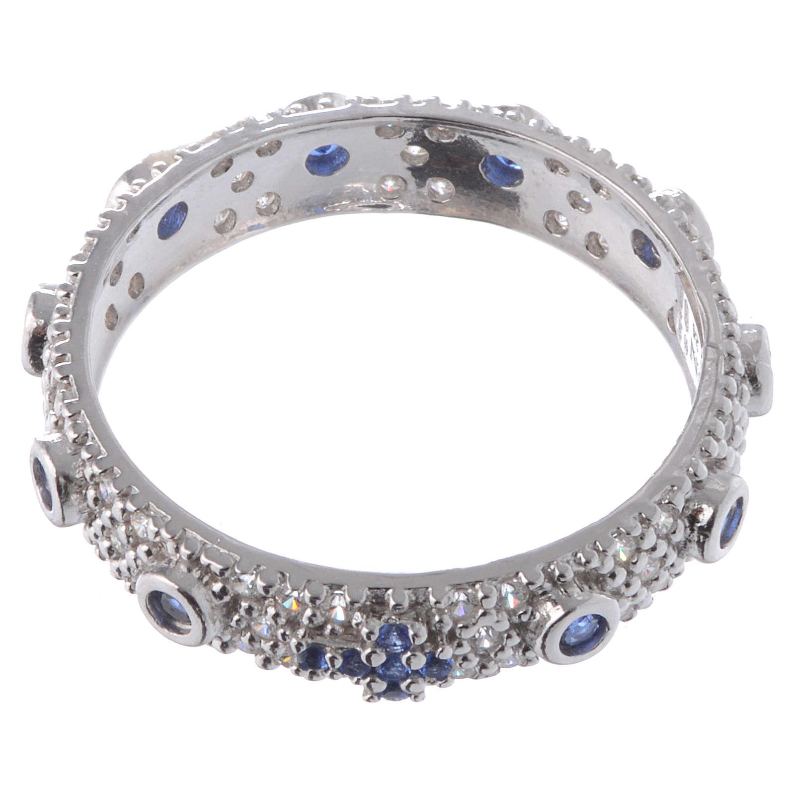 Anillo decena AMEN plata 925 rodiada, circones azules y Rodio 3