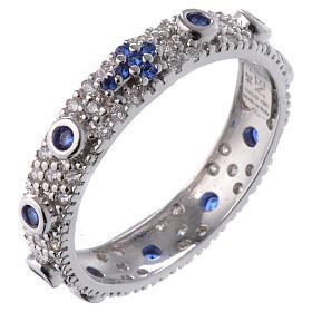 Anillo decena AMEN plata 925 rodiada, circones azules y Rodio s1