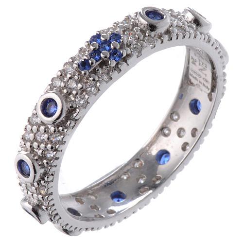 Anillo decena AMEN plata 925 rodiada, circones azules y Rodio 1