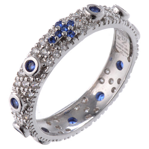 Anello decina AMEN arg 925 rodiato zirc blu Rodio 1
