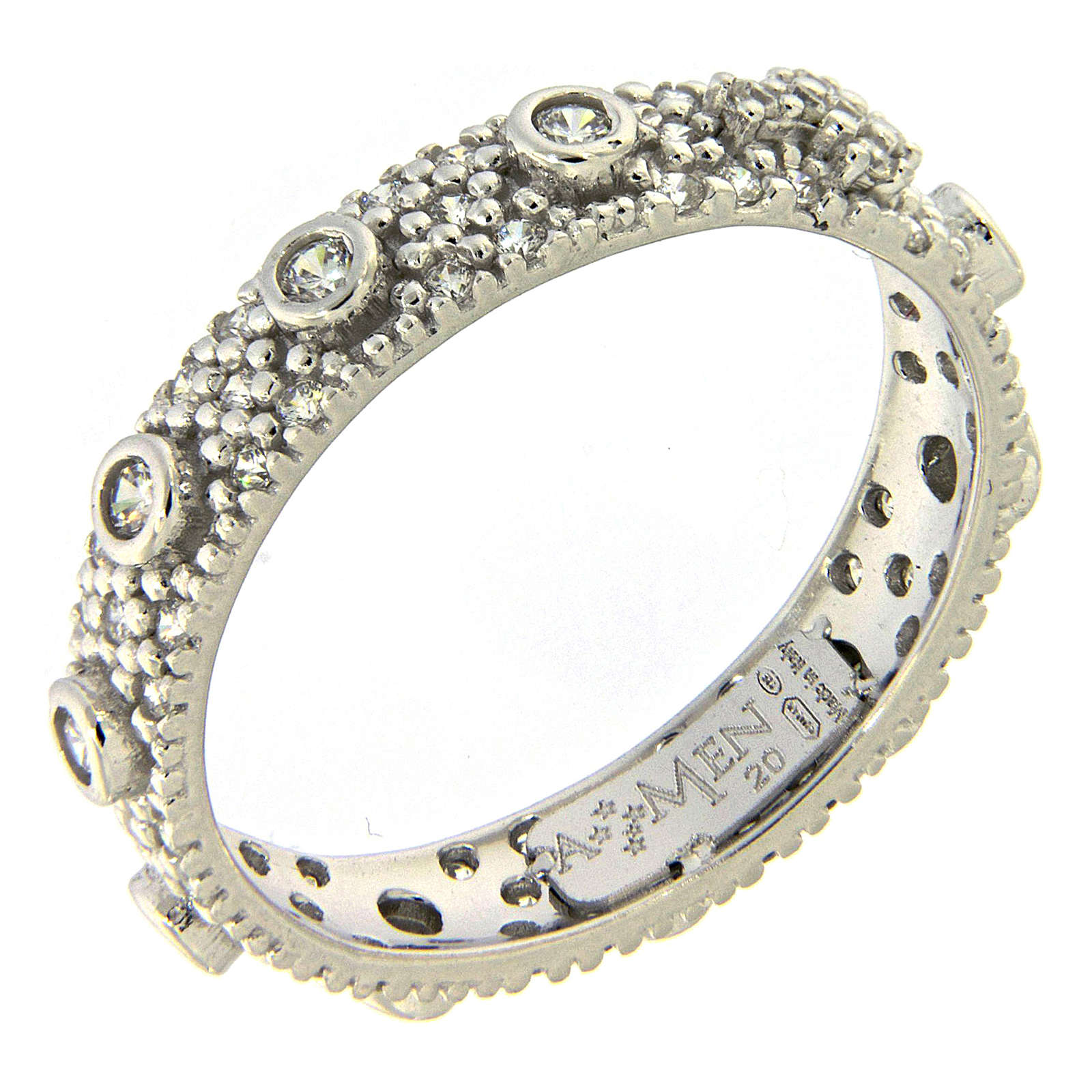 Ten-Beads AMEN rhodium-plated silver 925, white zircons 3