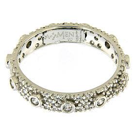 Ten-Beads AMEN rhodium-plated silver 925, white zircons s2