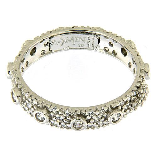 Ten-Beads AMEN rhodium-plated silver 925, white zircons 2