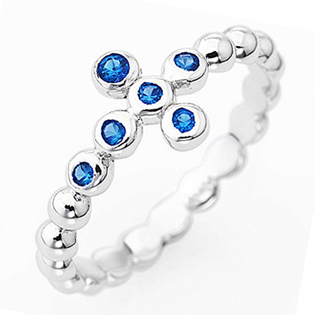 Anillo AMEN Cruz Plata 925 blanco circones azul 3
