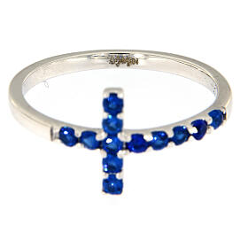 Bague AMEN croix argent 925 blanc zircons bleus s4