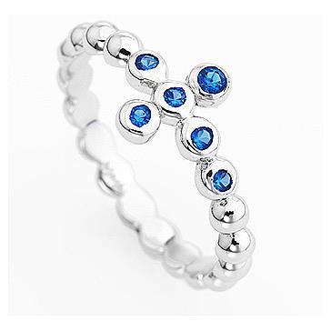 Anello AMEN croce arg 925 bianco zirconi blu 2