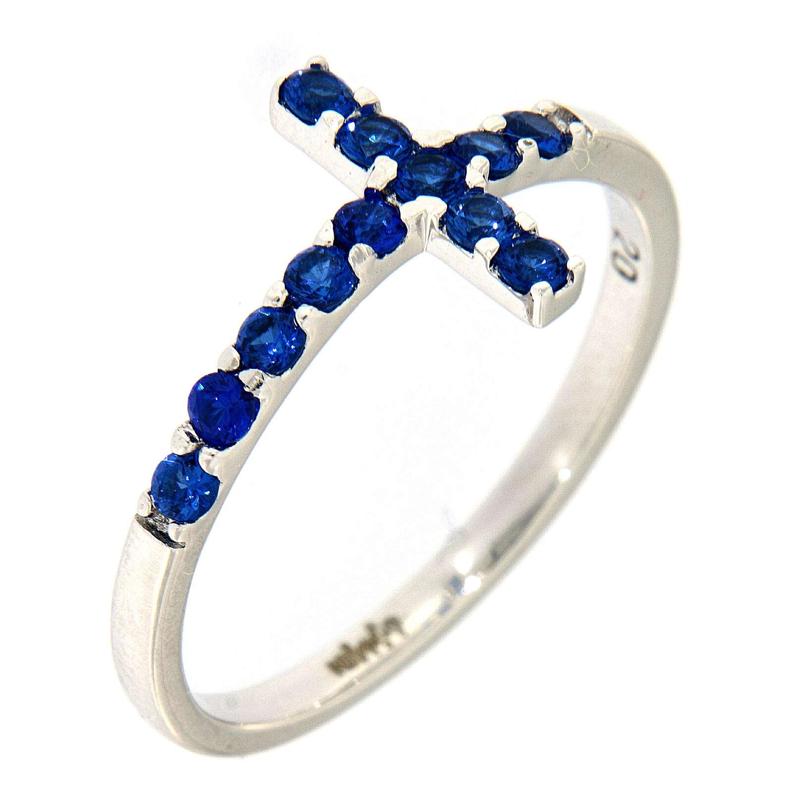 Ring AMEN Cross white silver 925, blue zircons 3