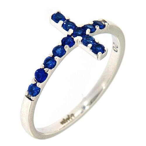 Ring AMEN Cross white silver 925, blue zircons 1