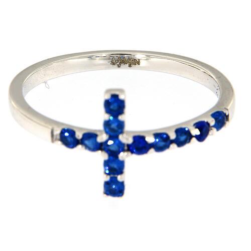 Ring AMEN Cross white silver 925, blue zircons 4