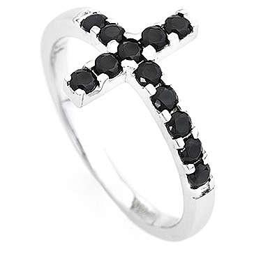 Bague AMEN croix argent 925 blanc zircons noirs 3