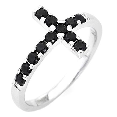 Bague AMEN croix argent 925 blanc zircons noirs 1