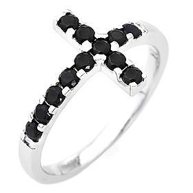 Anello AMEN croce arg 925 bianco zirconi neri s1