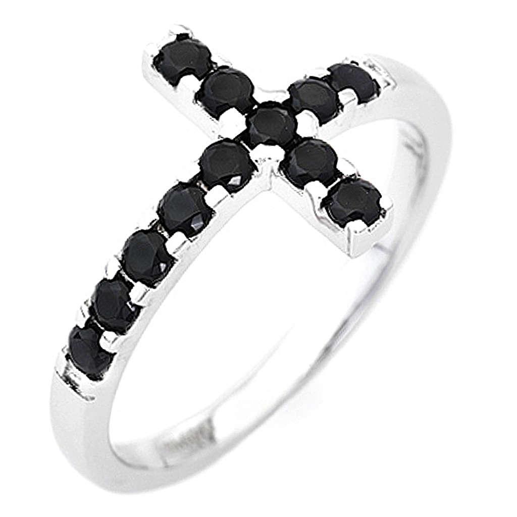 Ring AMEN Cross white silver 925, black zircons 3