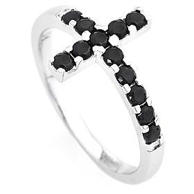 Ring AMEN Cross white silver 925, black zircons s2