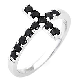 Ring AMEN Cross white silver 925, black zircons s1