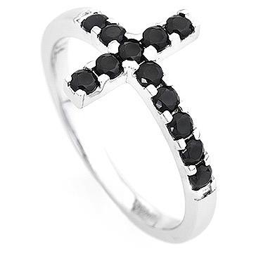 Ring AMEN Cross white silver 925, black zircons 2