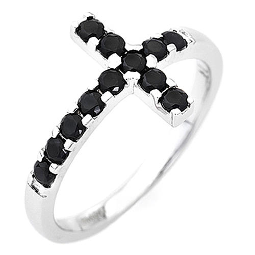 Ring AMEN Cross white silver 925, black zircons 1