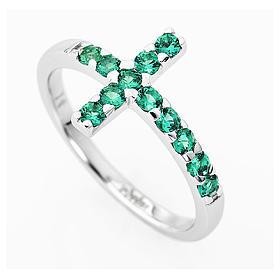 Anello AMEN croce arg 925 bianco zirconi verdi s2