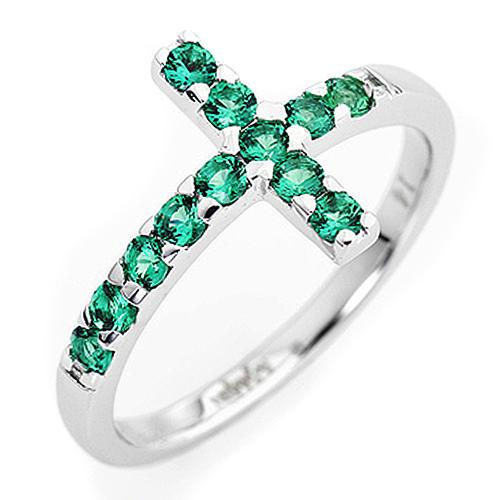 Anello AMEN croce arg 925 bianco zirconi verdi 1