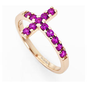 Ring AMEN Cross rosè silver 925, red zircons s2