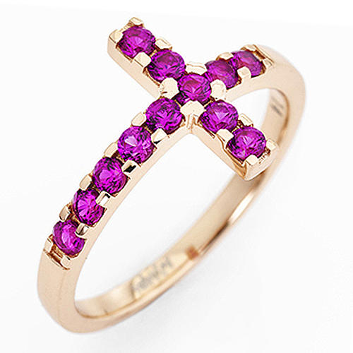 Ring AMEN Cross rosè silver 925, red zircons 1