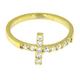 Ring von AMEN mit Kreuz aus vergoldetem 925er Silber mit weißen Zirkonen s11