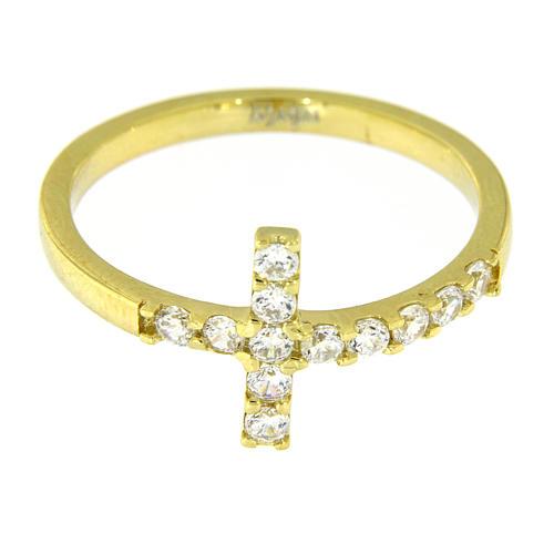Ring von AMEN mit Kreuz aus vergoldetem 925er Silber mit weißen Zirkonen 11