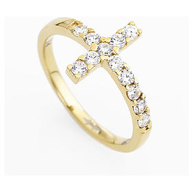 Ring AMEN Cross gilded silver 925, white zircons s7