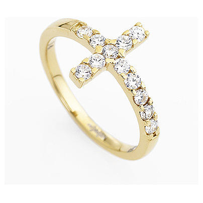 Ring AMEN Cross gilded silver 925, white zircons 7