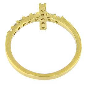 Anillo AMEN cruz plata 925 dorado con circones blancos s12