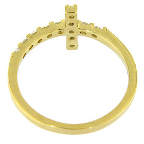 Anillo AMEN cruz plata 925 dorado con circones blancos s6