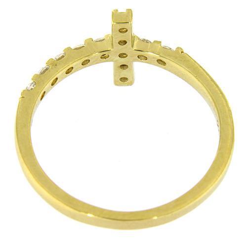 Anillo AMEN cruz plata 925 dorado con circones blancos 12