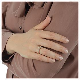 Anello AMEN croce arg 925 dorato zirconi bianchi s9
