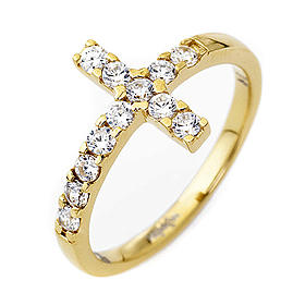 Anello AMEN croce arg 925 dorato zirconi bianchi s1